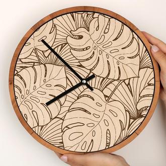 Круглые деревянные часы с гравировкой, принимаем индивидуальные заказы, Тропики Tropic Nature