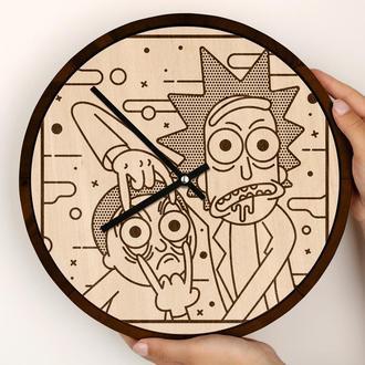 Круглые деревянные часы с гравировкой, Рик и Морти Rick and Morty, Pickle Rick