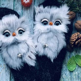 Пуховые варежки с совами