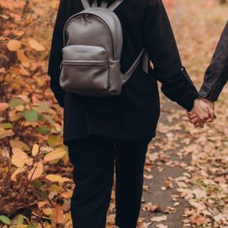 Серый городской рюкзак М из натуральной кожи, кожаный женский рюкзак