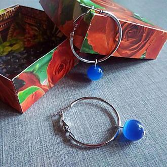 Серьги-кольца с кошачьим глазом