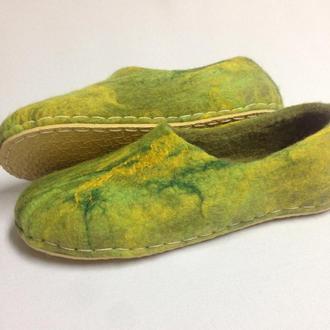 Женские валяные тапки Войлочные домашние тапочки Двухцветные тапки из 100% шерсти