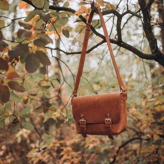 Стильная коричневая кожаная сумка, Сумка из кожи крейзи Хорс, Crazy Horse
