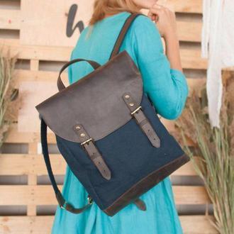 Городской винтажный большой рюкзак микс ткани и натуральной кожи