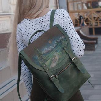 Большой городской кожаный рюкзак с росписью ручной работы.