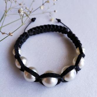 Кожаный браслет-шамбала с жемчугом