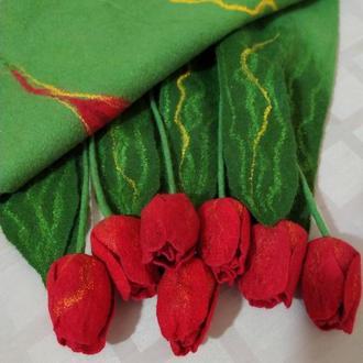 """Палантин """" Алые тюльпаны"""""""