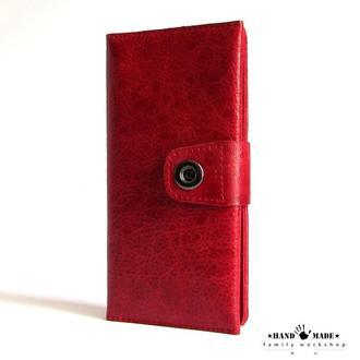 Красный клатч-кошелек  из натуральной кожи
