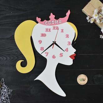 """Настенные часы в детскую """"Принцесса"""" с именем, из дерева"""