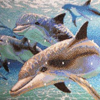 Панно из мозаики для бассейна Дельфины