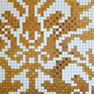 Мозаичный декор для кухни из золотой мозаики