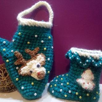 Новогодний набор рукавичка и сапог для упаковки подарков и для декора