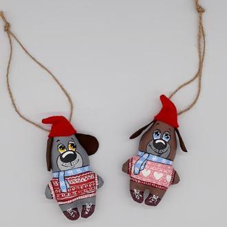 Игрушки на елку Два веселых Щенка