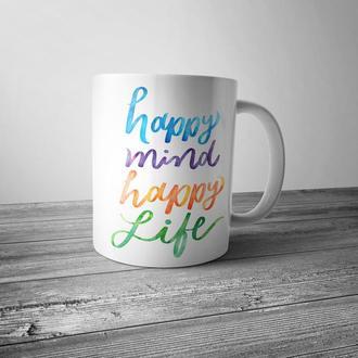 """Чашка с принтом """"Happy mind, happy life"""""""
