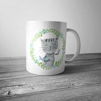 """Чашка с принтом """"Милый кот"""""""