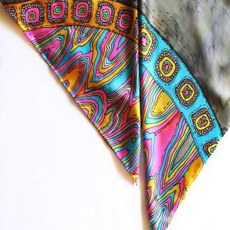 Шелковый платок с орнаментом икат, шовкова хустка, этнический платок