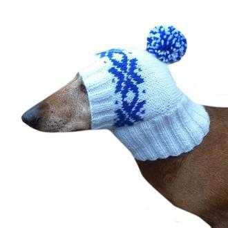 Шапка для собаки вязанная