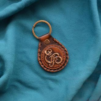 Кожаный брелок с инициалами и знаком зодиака