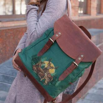 Большой городской рюкзак ткань (лен) + кожа