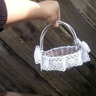 Плетеная корзина D13см Корзина на свадьбу Корзинка для лепестков