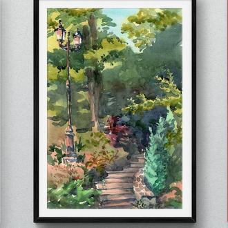 Акварельный парковый пейзаж