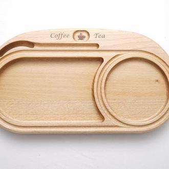 Доска из дерева для подачи чая и кофе на три отделения DrinkPad