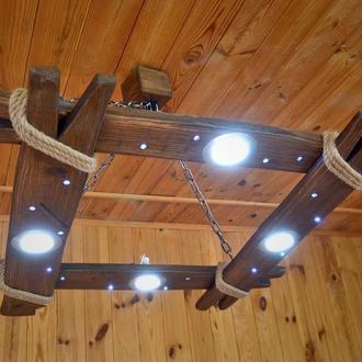 Люстра из дерева со светодиодными лампами и LED ночником, потолочный светильник