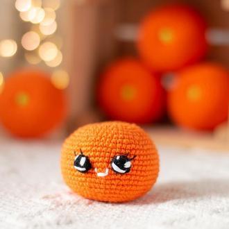 Мандарин, апельсин, вязаная игрушка крючком амигуруми