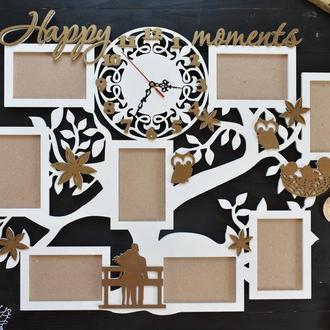 """Фоторамка с часами """"Happy moments"""", в белом и бронзовом цвете, из дерева"""