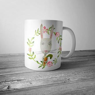 """Чашка с принтом """"Милый заяц"""""""