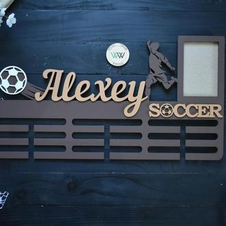 """Именная медальница с фоторамкой """"Soccer"""", из дерева"""