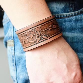 Кожаный браслет для мужчин, браслет из кожи мужской, с тиснением механизмы в 4 цветах, ручная работа