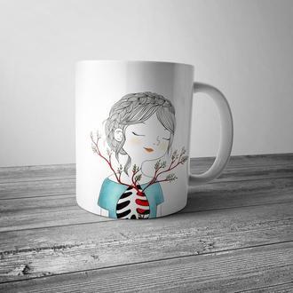 """Чашка с принтом """"Девочка с добрым сердцем"""""""