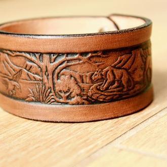 Кожаный браслет для мужчин, браслет из кожи мужской, с тиснением дикая природа в 4 цветах