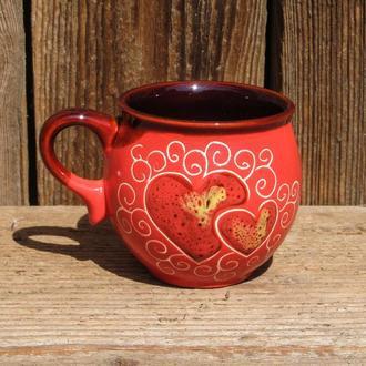 Чашка-шарик, декор красное Сердце