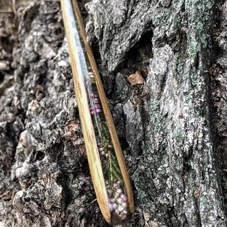 Заколка шпилька для пучка из дерева и сухоцвета вереска, для длинных волос