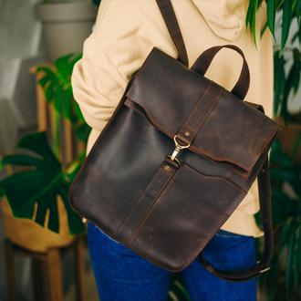 Кожаный рюкзак, рюкзак для девушки, городской рюкзак для ноутбука