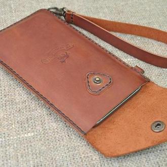 Коричневый кожаный чехол для телефона H03-210
