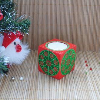 Деревянный новогодний подсвечник с точечной росписью