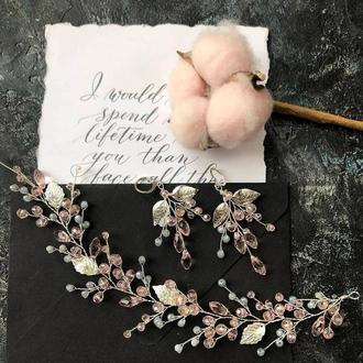 комплект свадебных украшений веточка и серьги