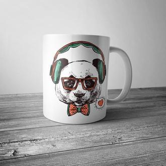 """Чашка с принтом """"Панда в наушниках"""""""