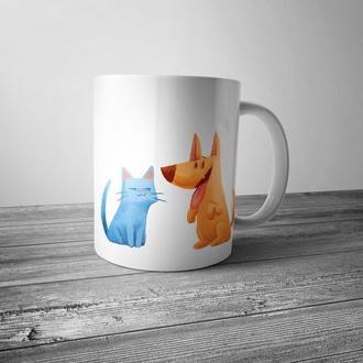 """Чашка с принтом """"Кот и пёс"""""""