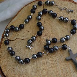 """Розарий (бусы-четки) унисекс из обсидиана и гематита с крестом ′Молитва"""""""