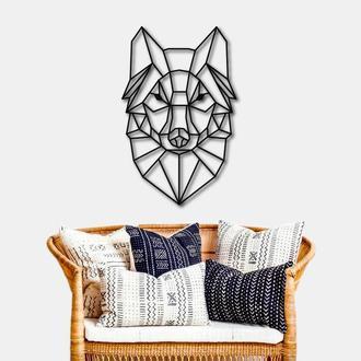 Деревянное панно на стену. Деревянный настенный декор для дома. Волк из дерева