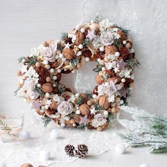 Новогодний,пастельная венок с розами.