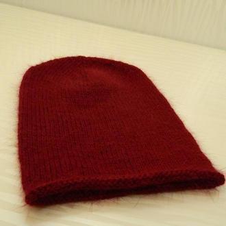Вязаная шапка бини пух норки цвета марсала шапка ангора меринос