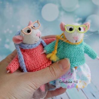 Валяные мышки с очками