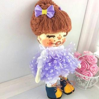 Кукла крошка с сиреневыми бантиками интерьерная