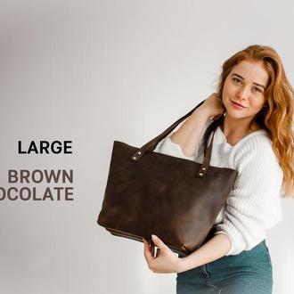 Женская кожаная сумка - шоппер, tote