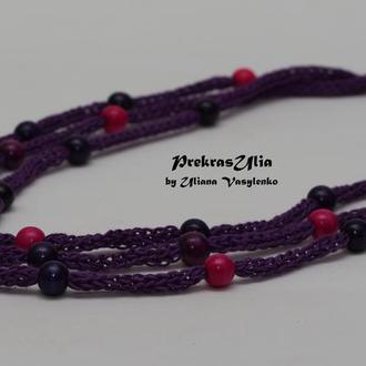 Фіолетове натуральне в'язане намисто